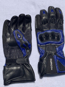 Best Moto Gloves for men Size M Color Blue Leather Used