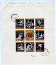 100 Jahre Wiener Staatsoper,Gestemplet 1969,8 Marken im Bolck mit Umradung+Oper