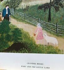 Vintage Grandma Moses Print Mary and the Little Lamb Folk Art Family 14x20 BIG