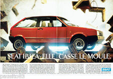 PUBLICITE ADVERTISING 056  1987  la SEAT Ibiza  casse le moule ( 2p)