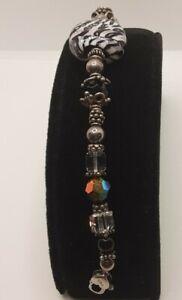 "Sterling silver Art Glass bracelet 7 1/2"" heart clasp 24 925 bead Murano Vintage"