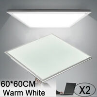 2X 36W 60x60cm LED Recessed Ceiling Panel Down Light Warm White Ultra-thin Lamp