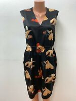 ACNE STUDIOS size 34 - 36 Dress 100%SILK Black Beige Red