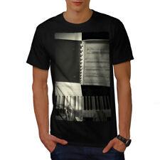 Wellcoda Piano Keys Art Old Mens T-shirt, Music Graphic Design Printed Tee
