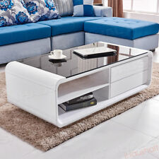 High Gloss White Coffee Table Black Top Tempered Glass W 2 Drawers Living Room