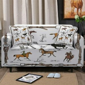 Horse Riding Animal Sofa Couch Chair Cushion Stretch Cover Slipcover Set Decor