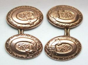 Belt buckle Victorian rose gold front self threading mens cuff-links