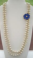 Opulent Vintage Doble Fila Crema Imitación Collar De Perlas-Broche de flor