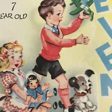 Vintage Mid Century Birthday Greeting Card Cute Little Boy Girl Puppy Airplane