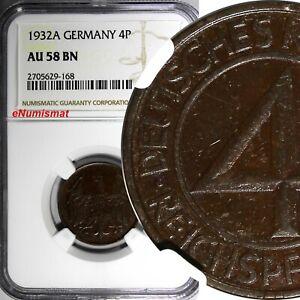 Germany, Weimar Republic Bronze 1932 A 4 Reichspfennig NGC AU58 BN KM# 75 (168)