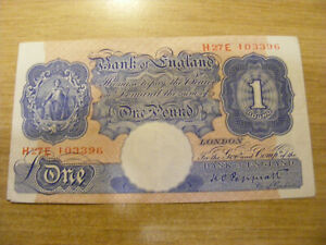 Blue One Pound Banknote K Peppiatt H27E 103396, Used but crisp WWII note