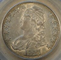 1827 Square Base 2 Capped Bust Half Dollar 50c PCGS Certified AU55