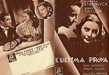 brochure,pieghevole,L'ultima prova,His Brother's Wife,Stanwyck,Taylor,Van Dyke.