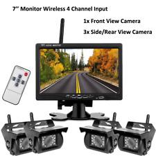 """Wireless 7"""" Monitor For RV Truck Bus Semi-Trailer Quad Front Rear View Camera"""