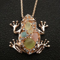 Betsey Johnson Multi-Color Opal Crystal Frog Pendant Long Necklace