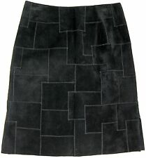 TEMPESTA Gruppo Americano Patchwork Suede Skirt Sz. 4 Black Leather Lined