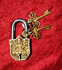 Religious Padlock Brass Handmade Goddess Durga For Small Lock Unique Gift UR75