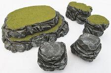 Warhammer 40k Tabletop WarGaming Terrain Scenery Grey Stone Plateau & Rocks SetA