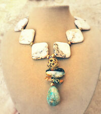 WHITE MAGNESITE AND BLUE TURQUOISE NEUTRAL AGATE PENDANT COWGIRL BIG NECKLACE