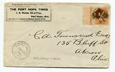 Canada ONT Ontario - Port Hope 1888 Newspaper CC - Small Queen Imprint - Cover
