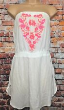 NEW MATALAN PAPAYA M White Longline Boob tube Tunic Vest Top Bright Embroidery