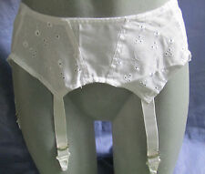 "VINTAGE SLIM JIM WHITE ANGLAISE 100% COTTON  SUSPENDER BELT  26"" SIZE 10"
