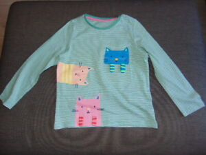 M&S Striped Cat Top 100%Cotton Long Sleeves 4-5y 110cm Green Mix BNWT