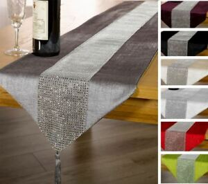 Diamante Table Runner Bling Sparkle Chenille Many Colours Christmas Two Sizes
