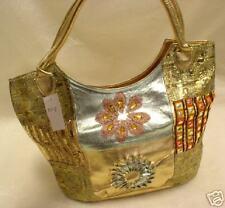 New Metallic Gold Sequin Beaded Hobo Purse Handbag