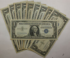 Lot of 10 Old 1957 $1 Dollar Silver Certificates, VG-VF, Miscellaneous Series