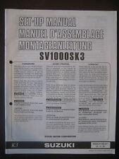 SUZUKI SV1000SK3 Set Up Manual SV 1000 SK3 Set-Up 99505-01183-011 Motorcycle