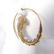 Spiral Brass Hoop Earrings Gold Plated Leafy Boho Chic Earrings Tribal Jewelry