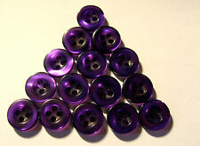 15 x PURPLE Colour Pearly 4-Hole Resin Buttons 10mm Wide (B94)