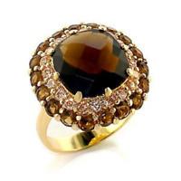 Bague luxe plaqué or 18k femme mode chic serti zirconium quartz fumé diamant