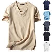 Men Casual V-neck Cotton Linen Basic Blouse Tops Tee T-shirt Summer Henley