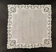 19TH C HANDMADE BRUSSELS MIXED LACE HANDKERCHIEF
