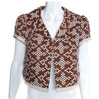 NEW NANETTE LEPORE Flair Jacket Brown White Snowflake Embroidery size 4 NWT /931