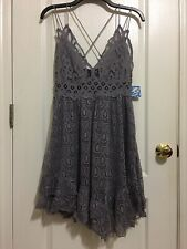 NWT FREE PEOPLE FP One Adella Burnout Slip Dress In Slate Lace Velvet Sz L