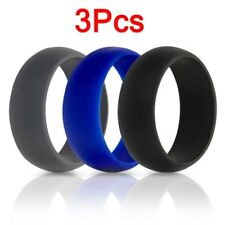 3Pcs/Set Flexible Rubber Silicone Wedding Ring Band Men Women Hypoallergenic New
