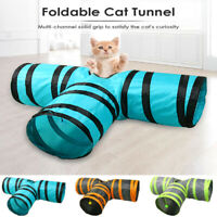 Foldable 3 Holes Cat Dog Tunnel Toys Pet Interactive Training Playing Tube Toys