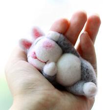 Lazy Rabbit Needle Felting Kit Lying in Hands 10cm Easy for Beginner