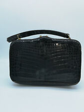 sac à main CUIR noir croco VINTAGE hand bag handbag real leather black