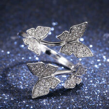 Butterfly 925 Silver Women's Rings White Sapphire Size Adjustable