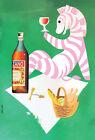 "Vintage Cinzano Liquor Poster Art CANVAS PRINT Zebra 24""X16"""