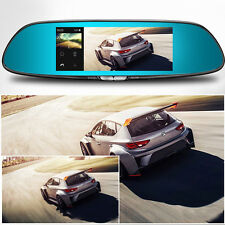 "7"" HD1080P Android 5.0 CAR DVR Rearview Mirror Dash Camera Dual Lens 3G WIFI GPS"