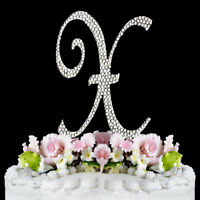 Silver-plated Wedding Monogram Cake Topper Top Letter A-Z with Swarovski Crystal