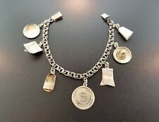 Vintage Sterling Mexico Charm Bracelet - Sombrero Plate Sandals Poncho - 925