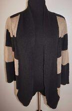 Pink Rose Open Cardigan Sweater Sz L XL Black Tan