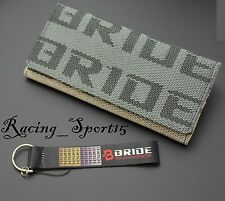 WOMENS BRIDE RACING FABRIC TRIFOLD WALLET LEATHER GRADATION FEMALE TEAL+ KEY