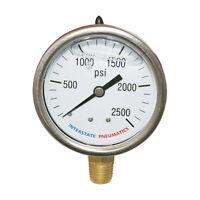 2500 PSI 2-1/2' Dial 1/4' NPT Bottom Mount Oil Filled Pressure Gauge G7022-2500